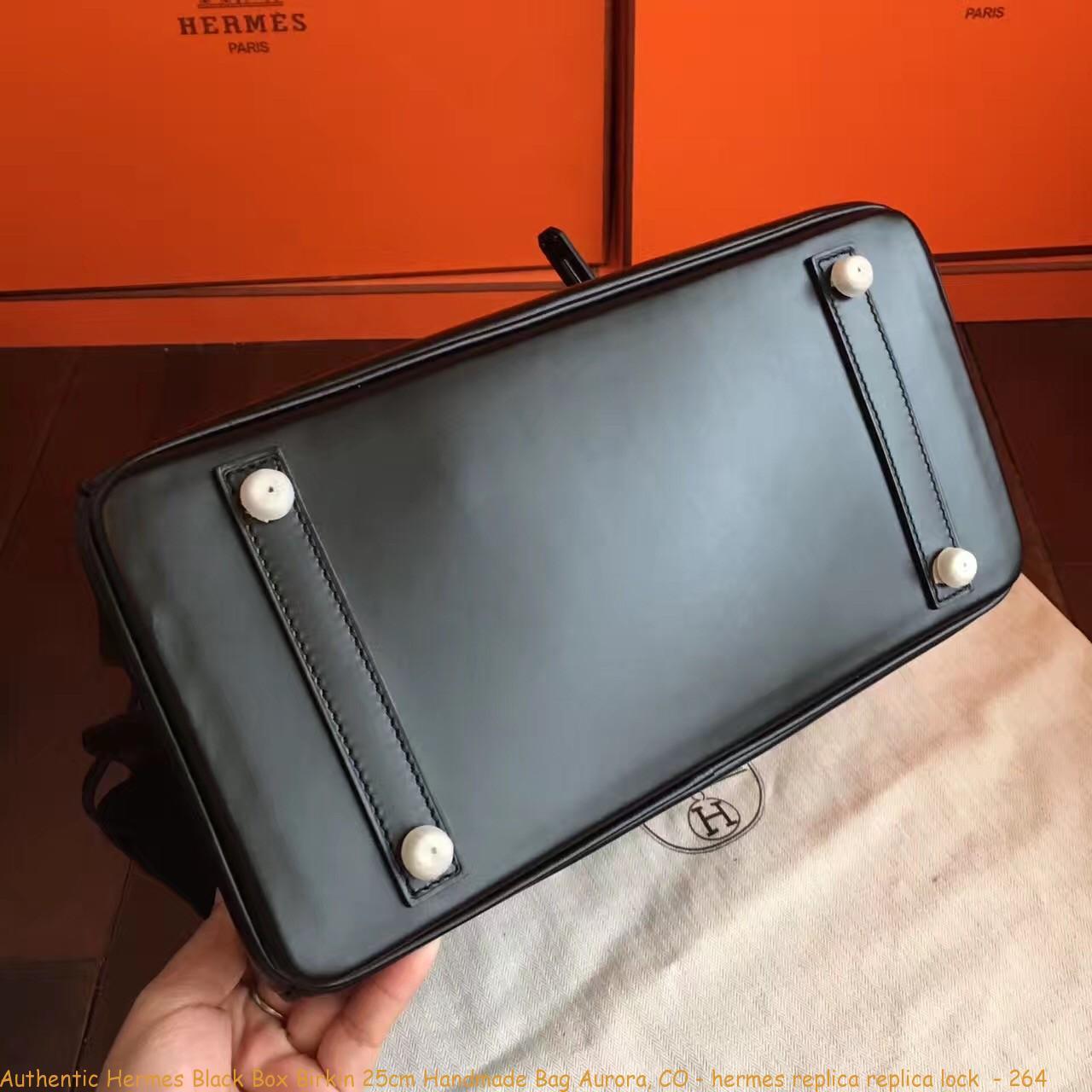 3ab5cc6ea56 Authentic Hermes Black Box Birkin 25cm Handmade Bag Aurora ...