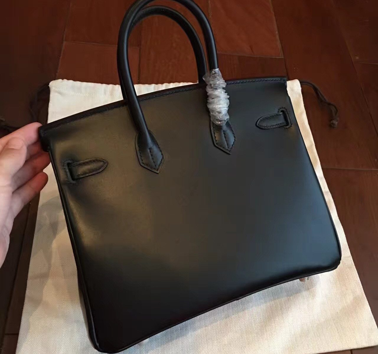 657d99b1e29 Home   Hermes Imitation Birkin 25cm Handbags   Authentic Hermes Black Box  Birkin 25cm Handmade Bag Aurora