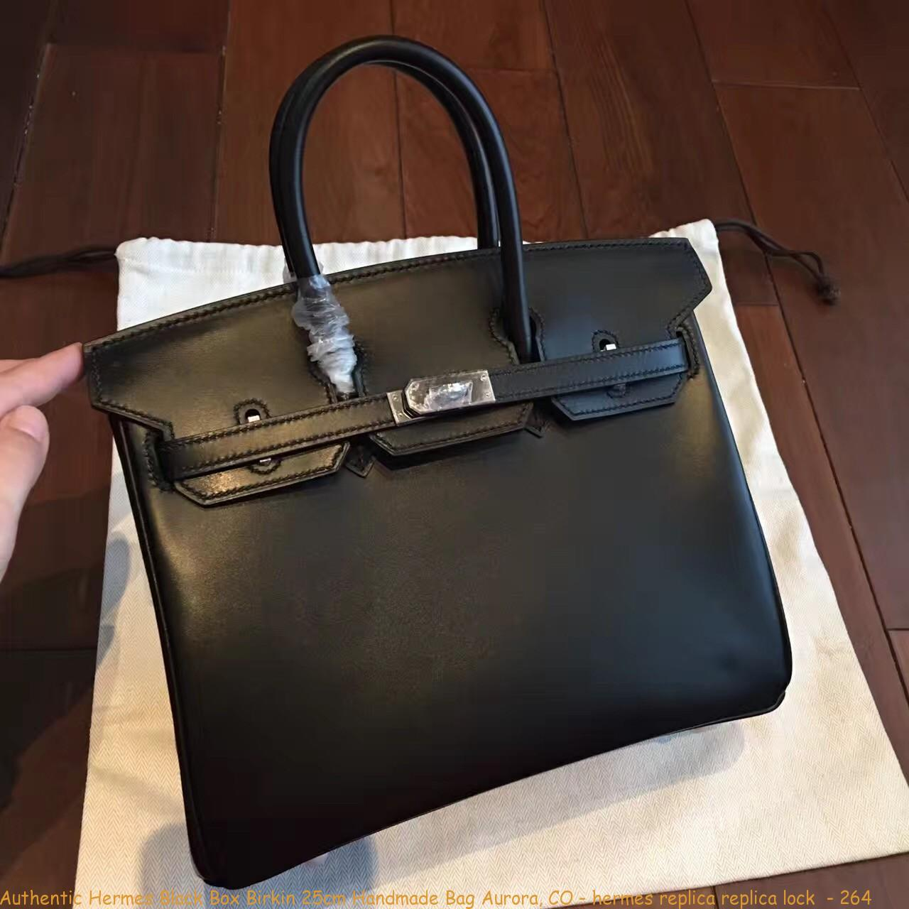 Authentic Hermes Black Box Birkin 25cm Handmade Bag Aurora ... 49e69659a1014