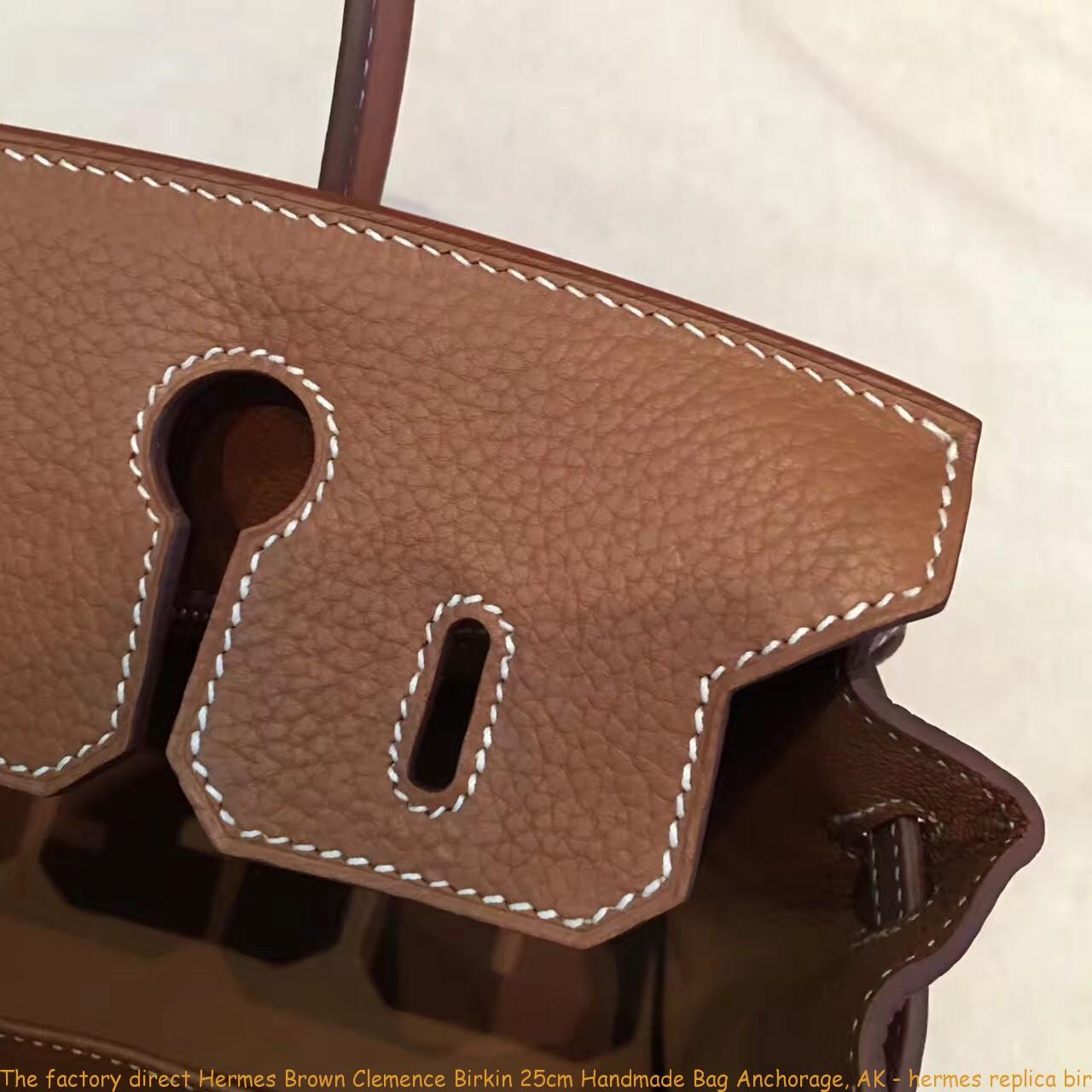 The factory direct Hermes Brown Clemence Birkin 25cm Handmade Bag ... b53ee57bcfd27